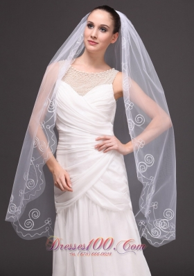 Cathedral Wedding Veil Embroidery Edge One-tiered