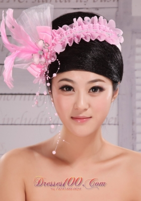 2013 Imitation Pearl Feather Tulle Headpiece