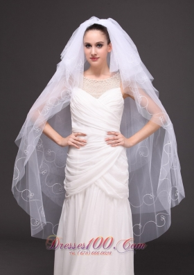 Embroidery Tulle Bridal Veil Dropped