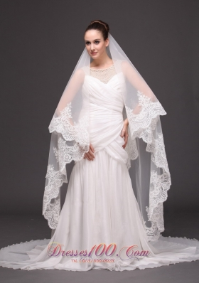 Lace Applique One-tiered Cathedral Tulle Wedding Veil
