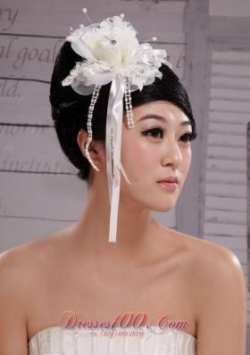 Headpiece Girl Pearl Flower Bud Silk Hair Hoop