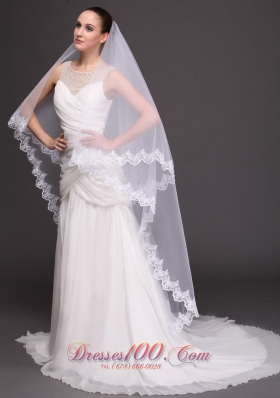 Two-tiered Tulle Lace Applique Bridal Veil