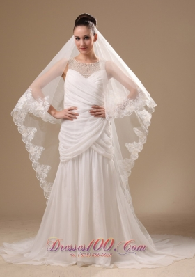 Lace One-tiered Cathedral Tulle Wedding Veil