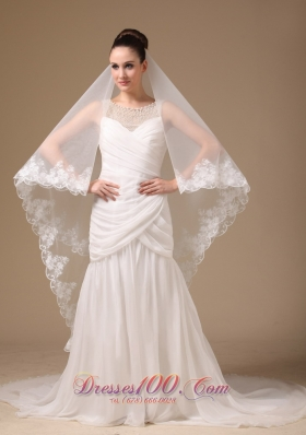 Lace Applique Wedding Veil One-tier Cathedral Tulle