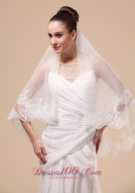 Lace Applique 2013 Two-tier Tulle Wedding Veil