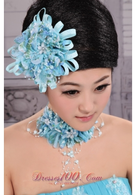 Tulle Aqua Blue Imitation Pearl New York