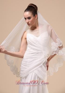 Lace Applique Tulle Wedding Veil Dropped