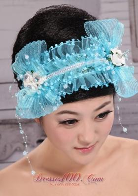 Aqua Blue Tulle Headpiece Rhinestone