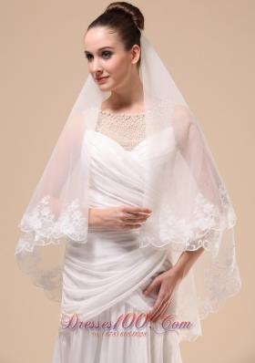 Wedding Veil 2013 Lace Applique Tulle