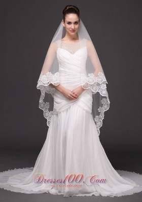 Lace Applique 2013 Tulle Graceful Wedding Veil