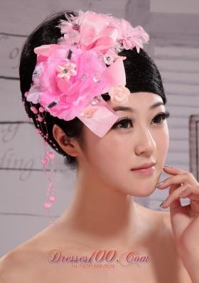 Pink Satin Ribbon Flower Beading Wedding Headpiece