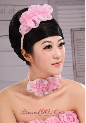 Pink Organza Fascinators Laced for Evening Party