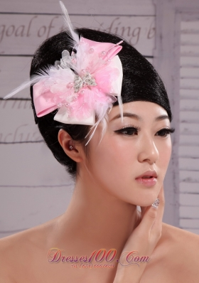 Pink and White Satin Feather Pearl Headpiece