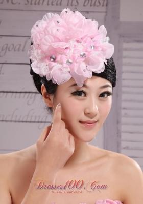 Baby Pink Beaded Bud Silk Prom Fascinator