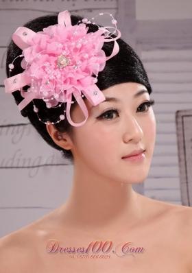 Pretty Pink Ribbon Big Flower Wedding Piece