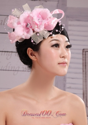 Wedding Pink Big Flower Pearl Headdress