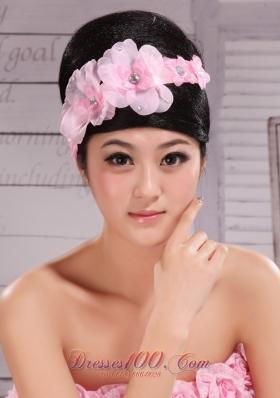 Light Pink Wedding Chiffon Ribbon Pearled