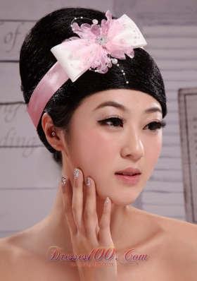 Pink Bowknot Peal Satin Ribbon Wedding Headpiece