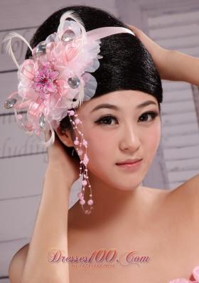 Ribbon Head Piece Handmade Flowers Baby Pink Beading