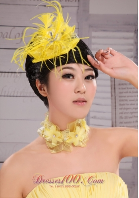 Bridal Hair Pieces Yellow Feather Beading For Party