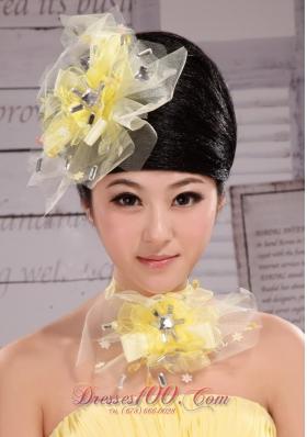Light Yellow Rhinestones Veil Bridal Hair Piece