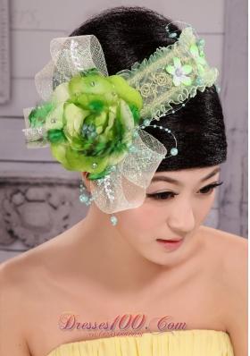 Wedding Headpieces Green Combs Handmade Flowers