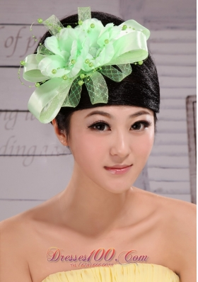Taffeta Apple Green Handmade Flower Headpiece