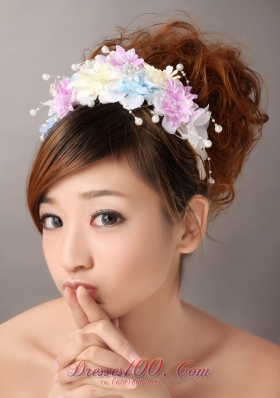 Headpiece with Pearl and Hand Made Flowers for Muti-color