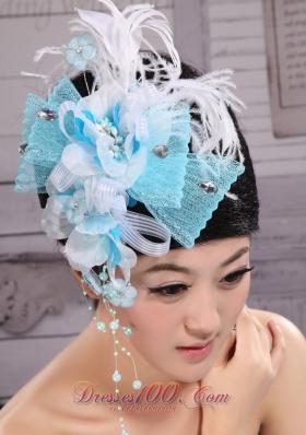 Feather and Rhinestones Aqua Blue Headpieces