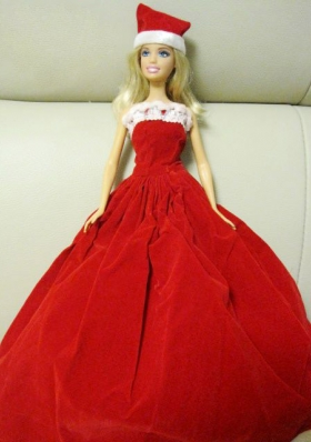 Red And White Ball Gown Barbie Doll With Red Hat
