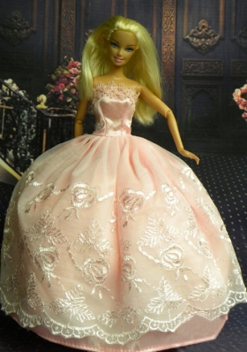 Barbie Doll Dresses Lace Strapless Watermelon