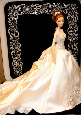 Heigh Neck Sleeves Wedding Party Doll Chapel Train