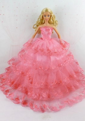 Rose Pink Layered Tulle Barbie Fashion Clothing