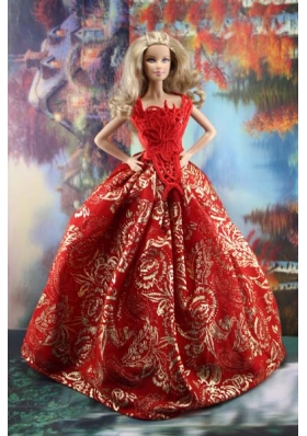Luxurious Red Gown Barbie Doll Clothes With Embroidery