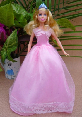 Pink Floor-length Short Sleeves Doll Clothes Simple