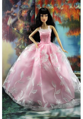 Pink and Embroidery Straps For Barbie Doll Dress