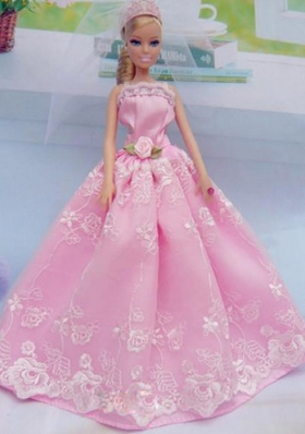 Elegant Pink Gown With Embroidery Made To Fit The Barbie Doll