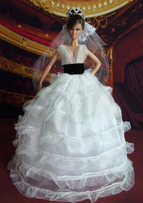 White Barbie Doll V-neck Wedding Dress