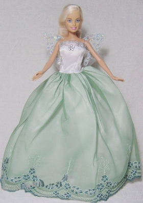 Apple Green and White Barbie Doll Embroidery Gowns