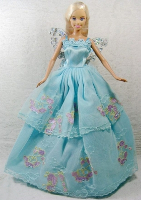 Blue Appliques Quncenera Gown For Barbie Doll