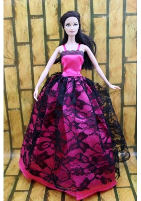 Hot pink and Black Lace Gown For Barbie Doll