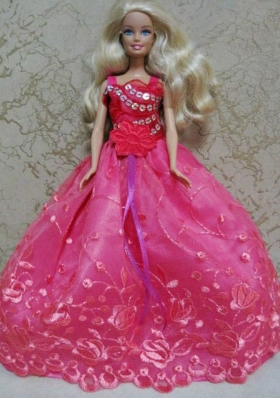 Hot Pink Ball Gown Appliques Clothes for Noble Barbie