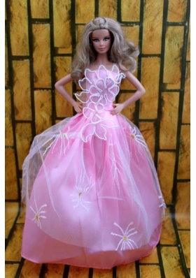 Rose Pink Dress Gown For Barbie Doll