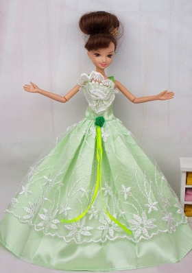 Apple Green Lace Flower Dress For Barbie Doll