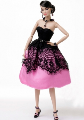 Tea-length Black and Pink knee length Barbie Doll Dress