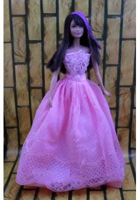 Lavender Prom Barbie Doll Dress With Embroidery
