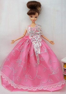 Rose Pink Sequins Barbie Doll Dresses