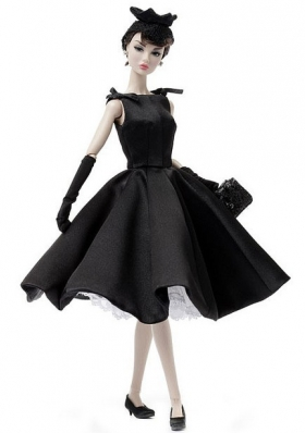 Black Ruffled Scoop Barbie Doll Dresses
