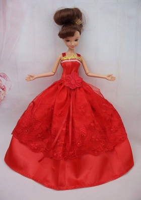 Red Dress Sash Wedding Dress For Barbie Doll