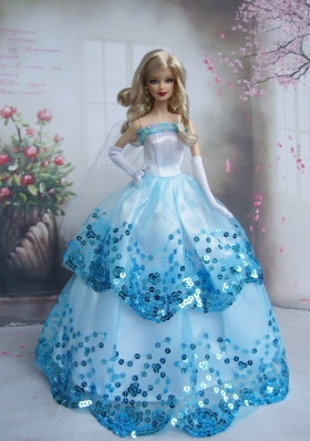 Blue Sequin Ruffled Skirt Prom Barbie Doll